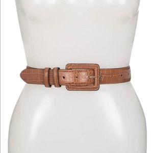Halogen Croc Embossed Faux Leather Belt Cognac